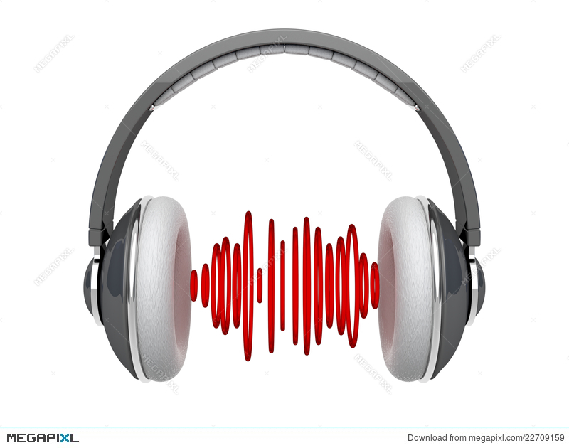 Headphones With Sound Waves Illustration 22709159 - Megapixl