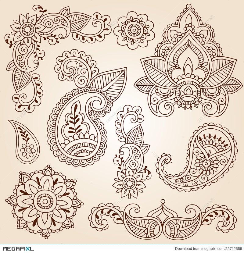 Henna Doodles Mehndi Tattoo Design Elements Set Illustration