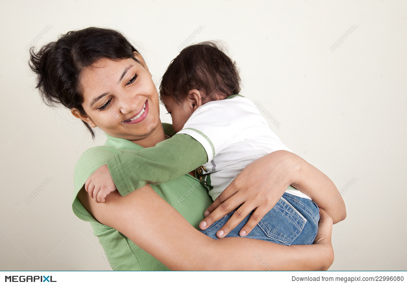 Indian Mother And Baby Smiling Stock Photo 22996080 Megapixl