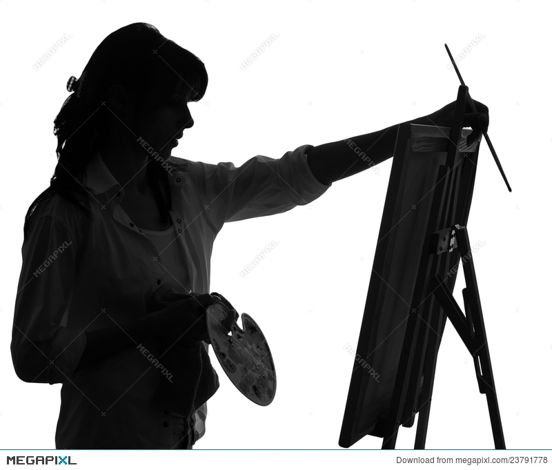 Silhouette Of Woman Artist Painting Stock Photo 23791778