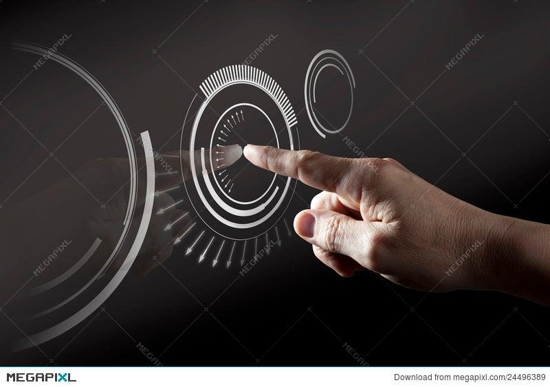 finger touching digital touch screen stock photo 24496389 megapixl