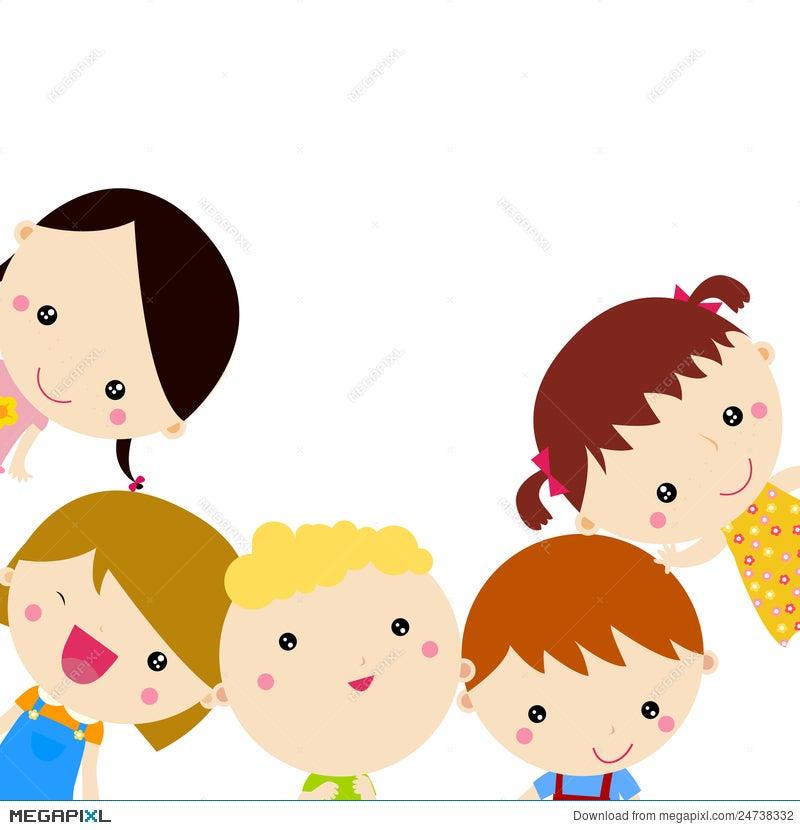 Cute Cartoon Kids Frame Illustration 24738332 - Megapixl