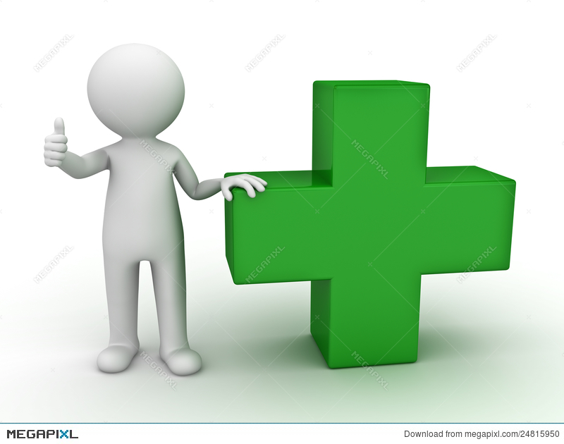 3d Man Showing Thumb Up With Green Plus Sign Illustration 24815950