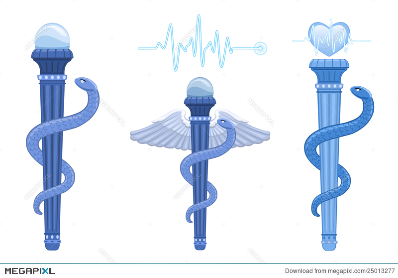 Rod Of Asclepius And Caduceus Medical Symbol Illustration 25013277