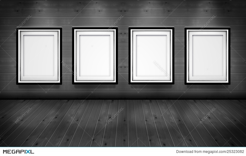 Empty Picture Frames In The Art Gallery Room Illustration 25323082