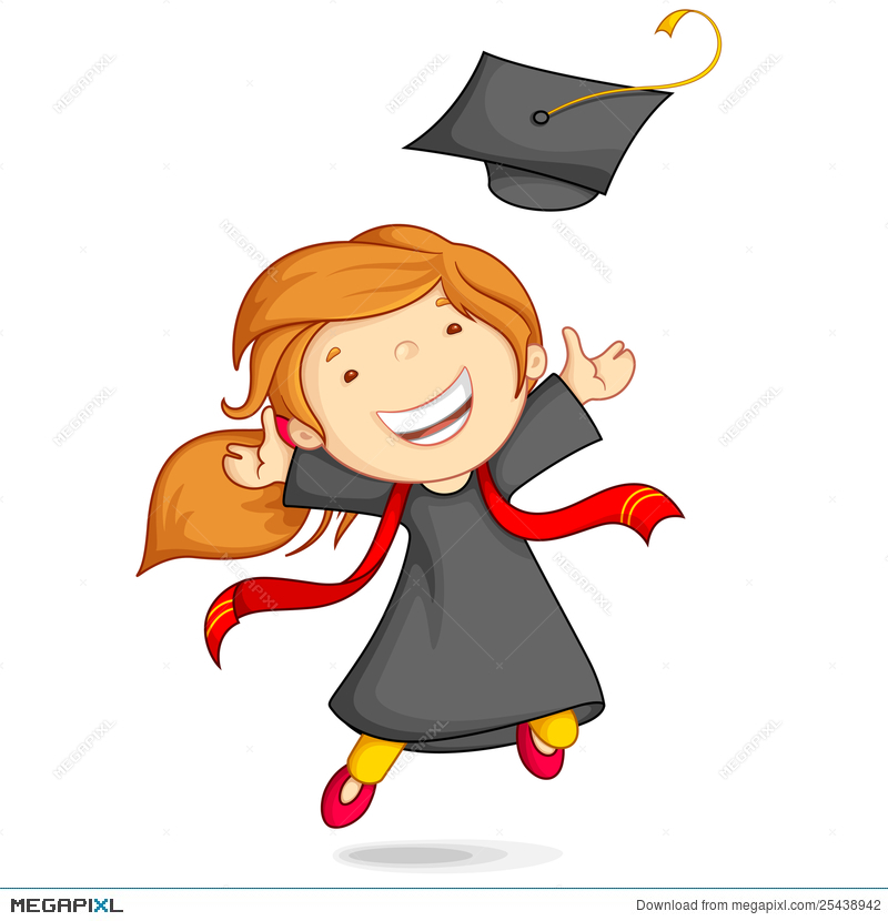 Girl In Graduation Gown Illustration 25438942 - Megapixl