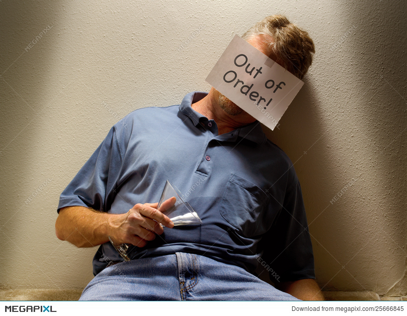 Unconscious Drunk Man With Out Of Order Sign Stock Photo 25666845