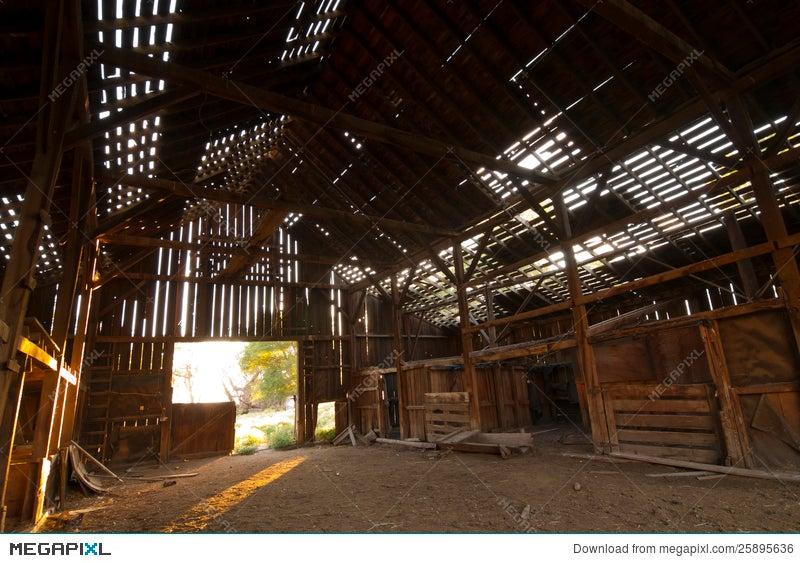Abandoned Barn Inside Stock Photo 25895636