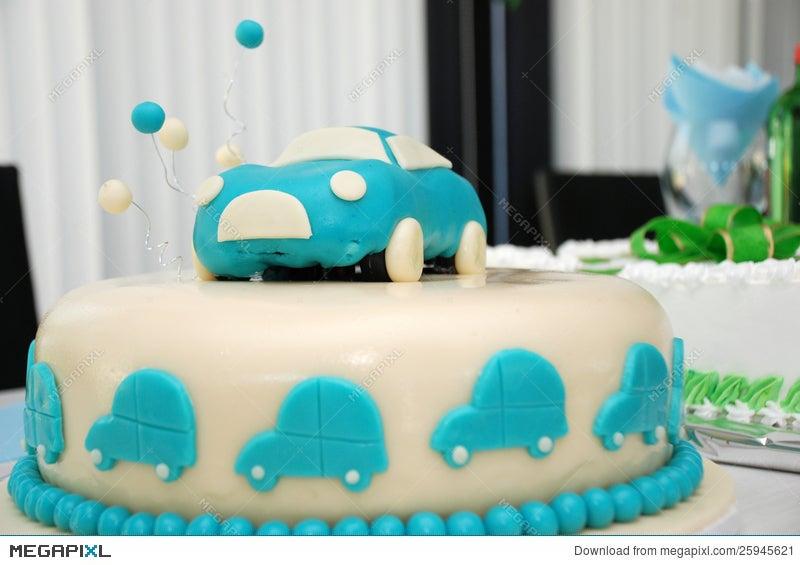Baby Boy Blue Birthday Cake With Car Stock Photo 25945621 Megapixl