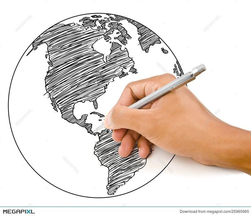 Hand drawing world map globe line illustration 25965965 megapixl hand drawing world map globe line gumiabroncs Choice Image