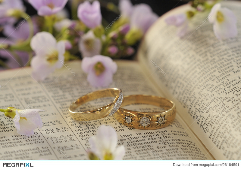 Wedding Rings Bible And Flowers Stock Photo 26184591 Megapixl