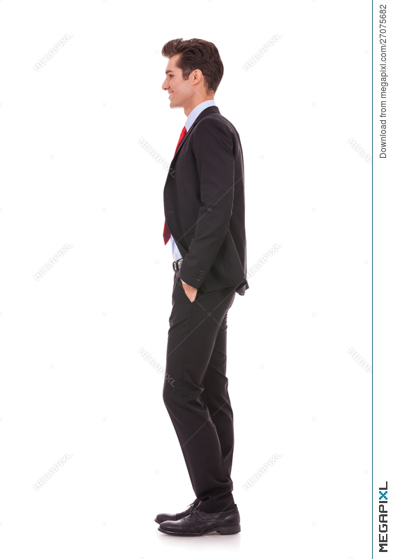side view profile of a well dressed business man stock photo