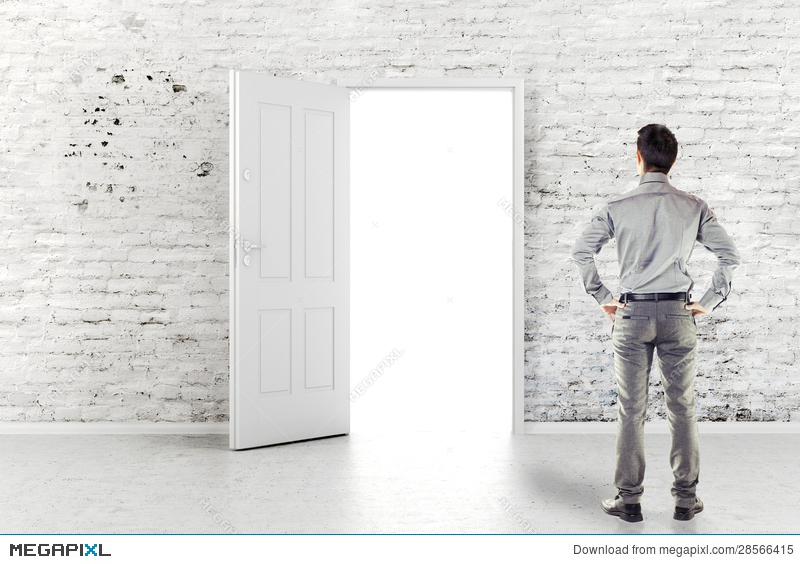 Young Business Man In Front Of An Open Door Illustration 28566415