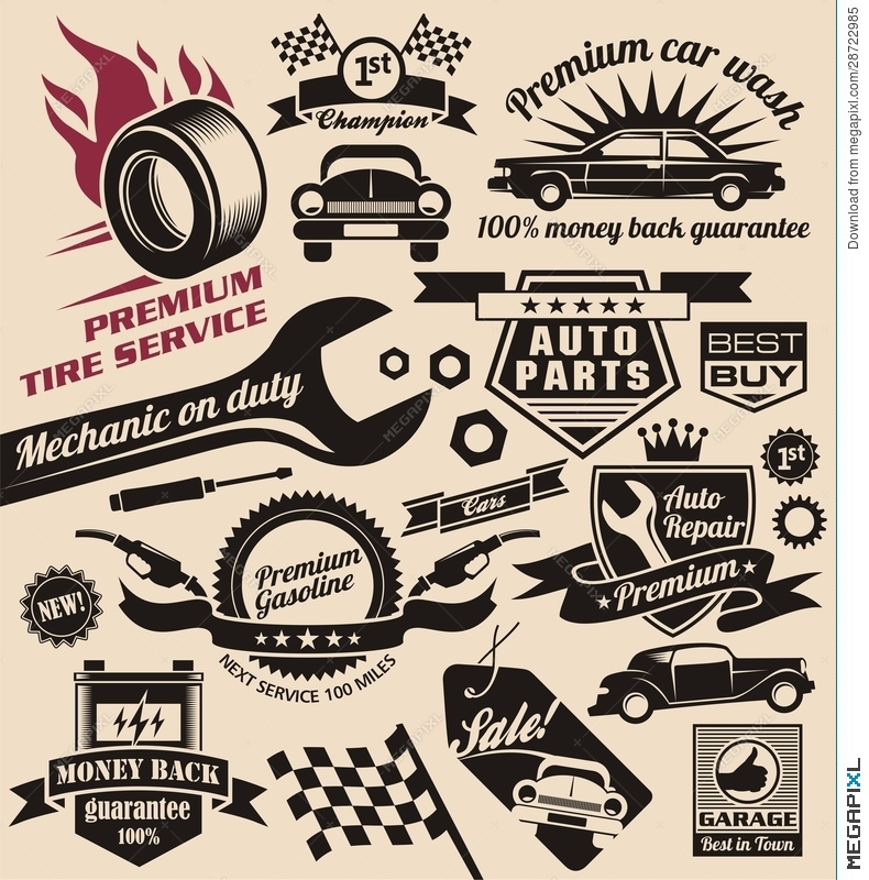 Vector Set Of Vintage Car Symbols And Logos Illustration 28722985