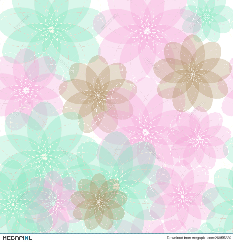 Seamless Blue Brown And Pink Light Abstract Flowers With Transparent Background Pattern