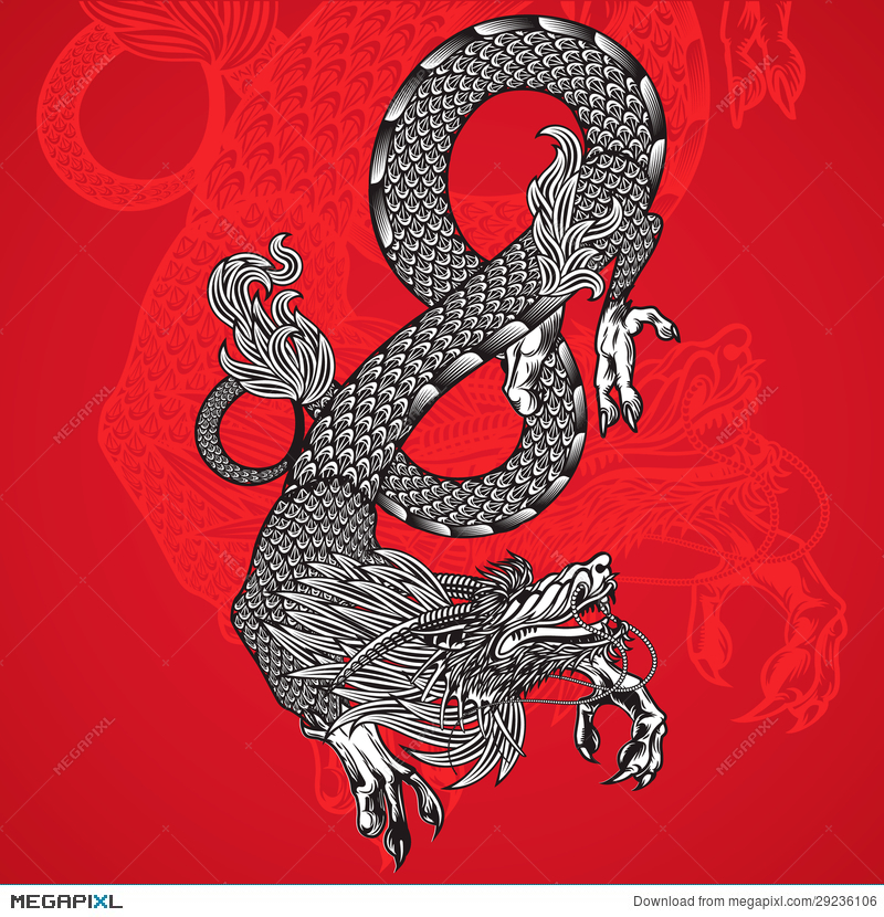 Ancient Chinese Dragon And Red Background Illustration 29236106