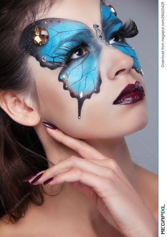 Fashion Make Up Butterfly Makeup On Face Beautiful Woman Art P Stock Photo 29420428 Megapixl