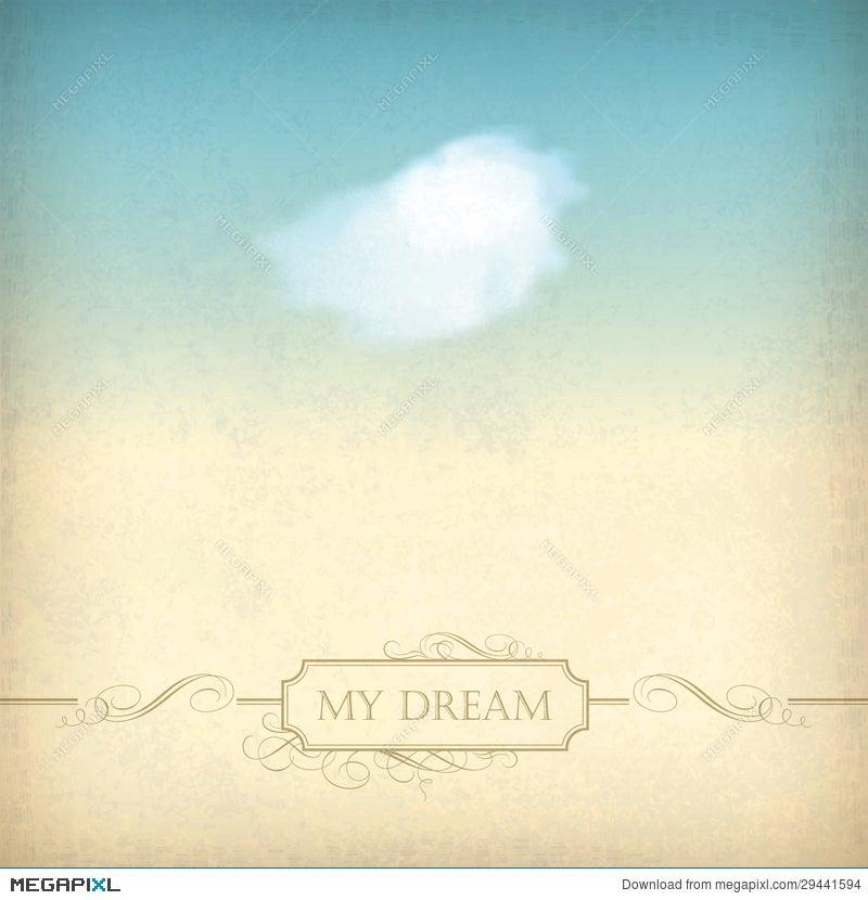 Vintage Sky Old Paper Background With Cloud, Frame Illustration ...