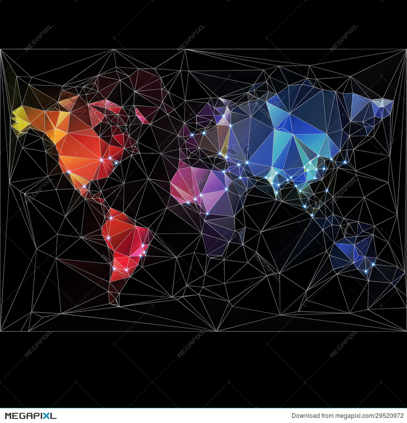 Night World Map With Largest Cities Illustration 29520972 ...