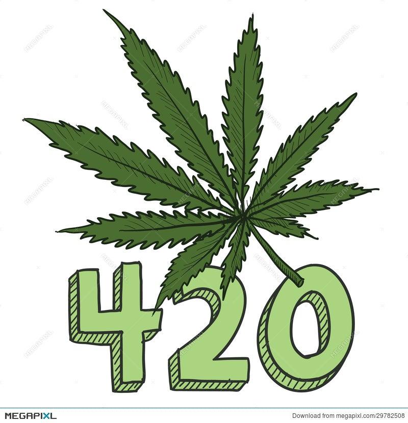 marijuana 420 sketch illustration 29782508 - megapixl