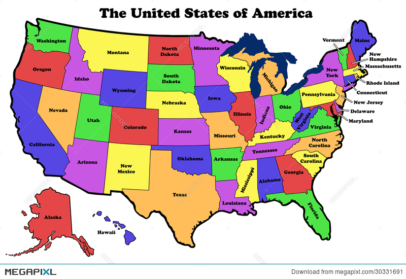 Map Of United States With State Names Illustration Megapixl - Picture of us map with state names