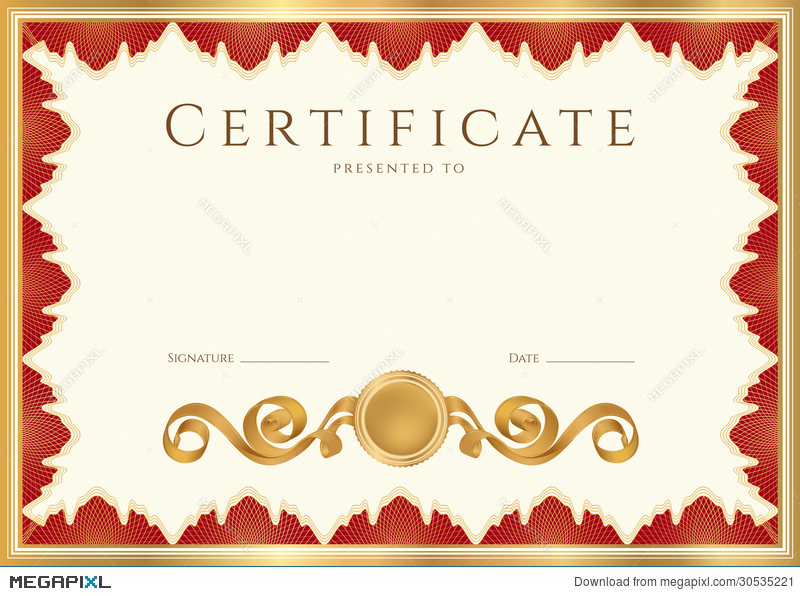 diploma certificate background with red border illustration