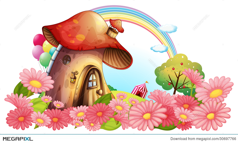 a mushroom house with a garden of flowers illustration 30697766 megapixl flowers illustration 30697766 megapixl