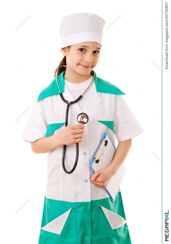 0e2f2e59af27d Little Girl In A Doctor Costume Stock Photo 30733857 - Megapixl