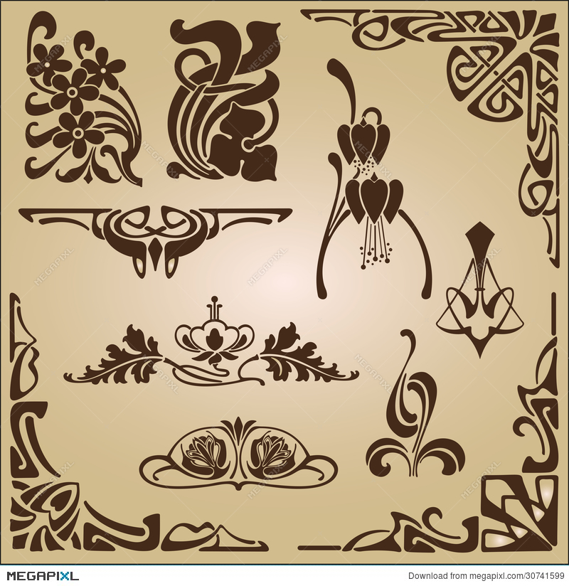 Art Nouveau Elements And Corners Design Ornament Illustration ...