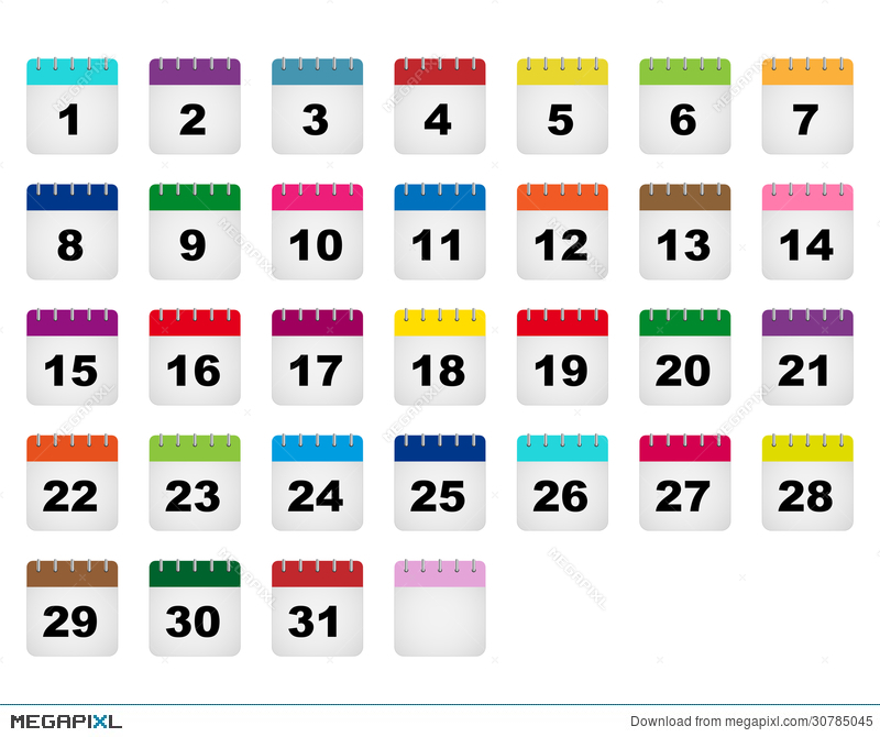 Calendar Days Icons Illustration 30785045 - Megapixl