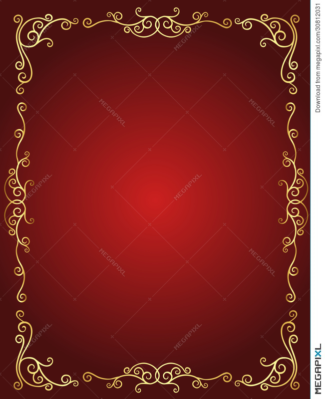 wedding invitation border in red and gold illustration 30812031