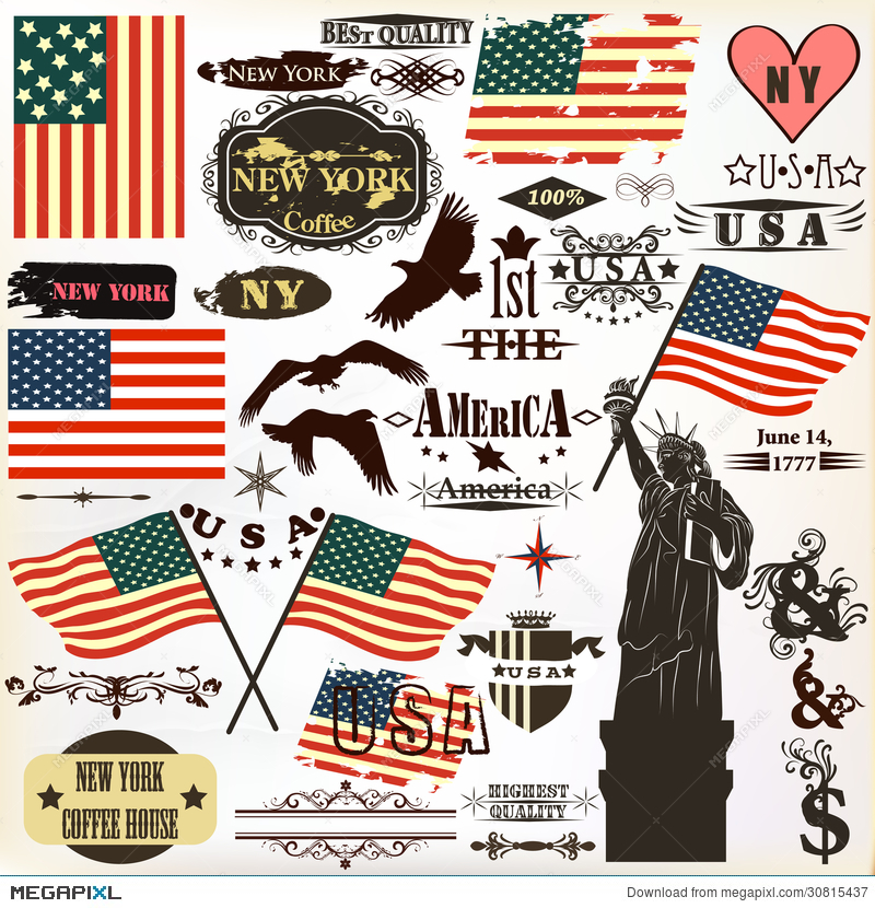 Collection Of Vintage Elements Usa Symbols For 14 June And 4 Jul