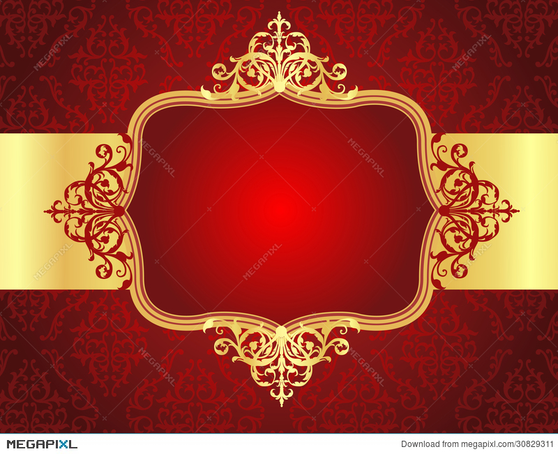 wedding invitation background with red damask patt illustration