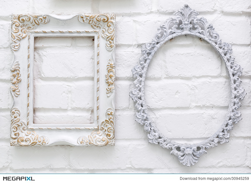 Vintage Picture Frames On White Brick Wall Stock Photo 30945259 ...