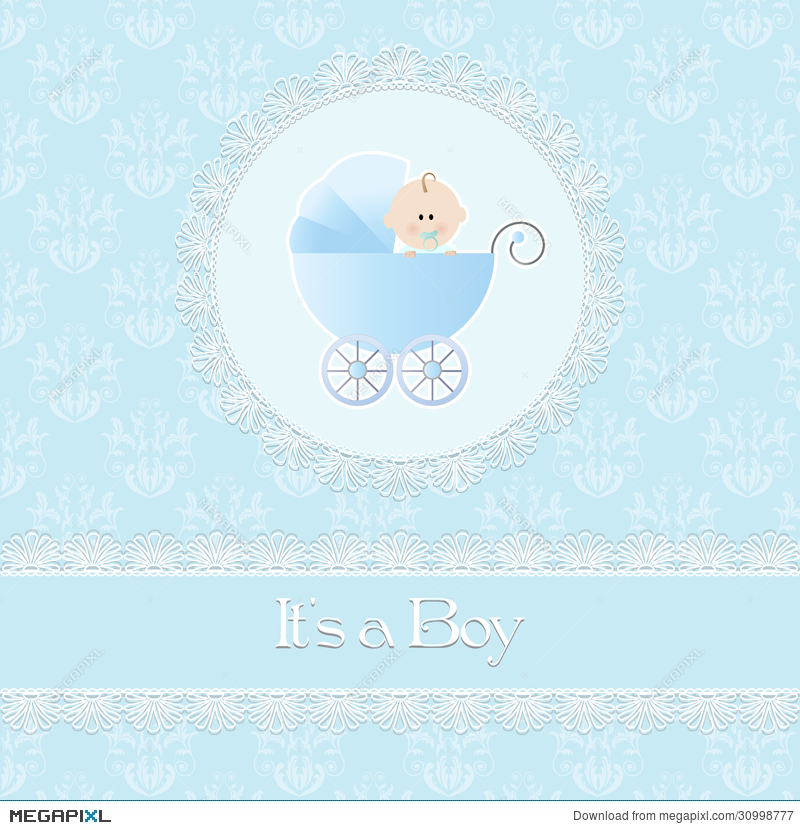baby shower card for baby boy with stroller and light blue damask
