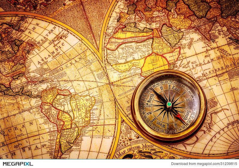 Vintage compass lies on an ancient world map stock photo 31239815 royalty free gumiabroncs Gallery