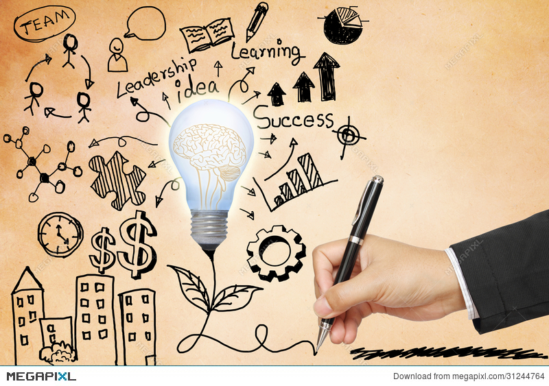 Business Hand Drawing Light Bulb With Symbols Illustration 31244764
