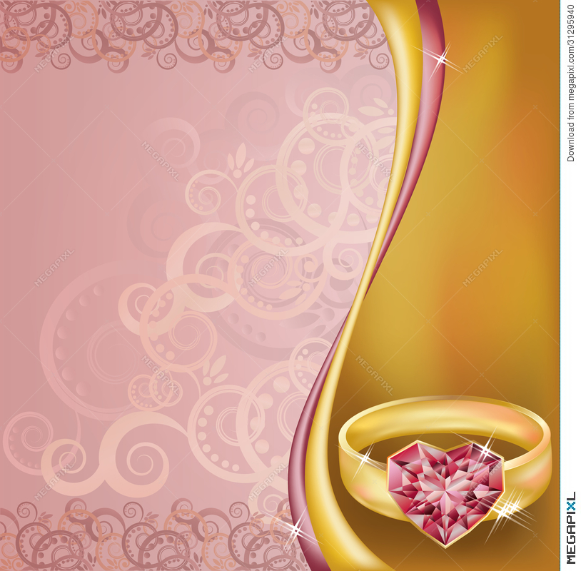 Wedding Invitation Card With Ruby Heart Ring Illustration