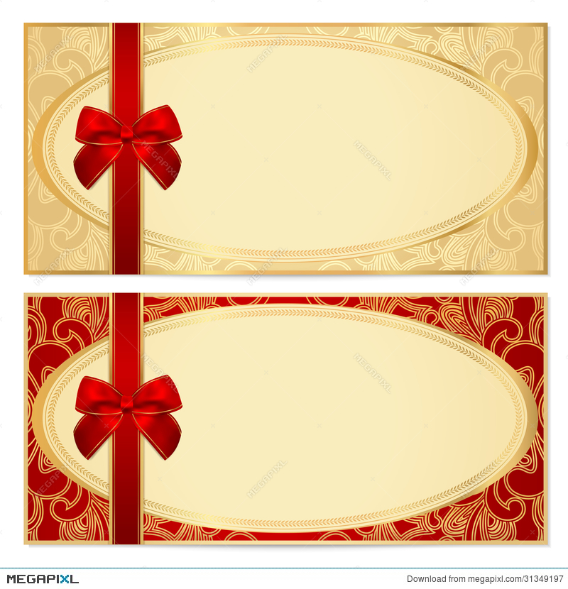 Gift Certificate Voucher Template Bow Pattern Illustration