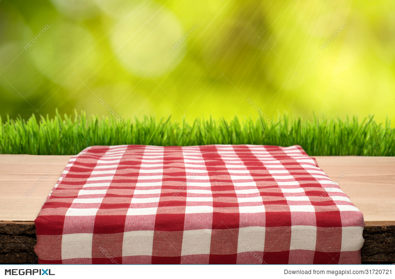 Picnic Table Background picnic table with cheched tablecloth stock photo 31720721 - megapixl