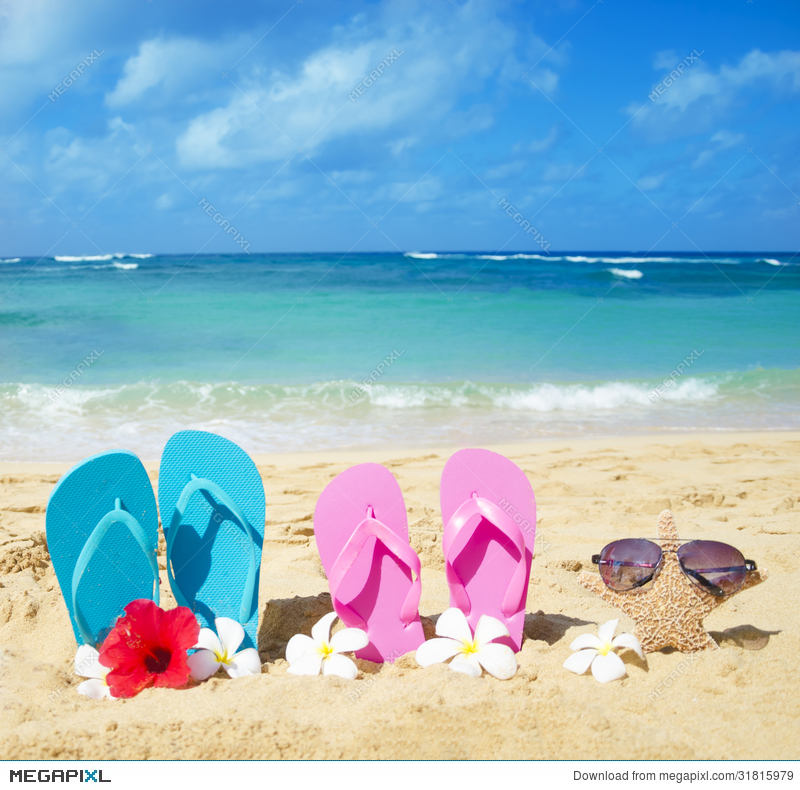 e55d5872fc9d Flip Flops And Starfish With Sunglasses On Sandy Beach Stock Photo ...