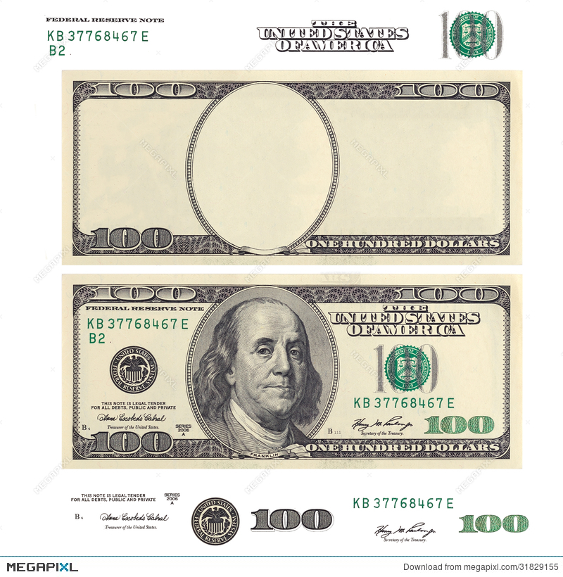 Clear 100 dollar banknote template and elements stock photo clear 100 dollar banknote template and elements pronofoot35fo Choice Image