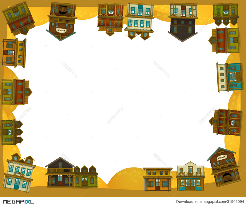 The Wild West - Western - Frame - Border - Template - Illustration ...