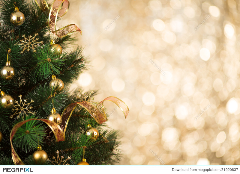 Christmas Tree Backgrounds.Gold Christmas Tree Background Of Defocused Lights Stock