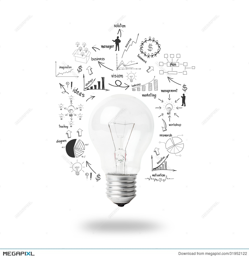 Light Bulb With Drawing Business Plan Strategy Concept Idea