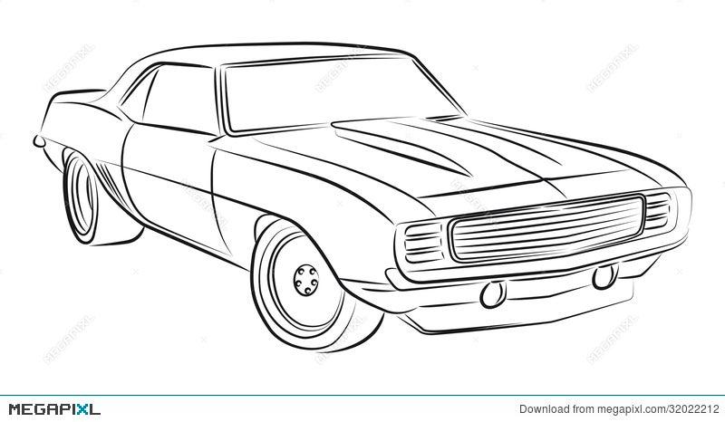 Muscle Car Drawing Illustration 32022212 Megapixl