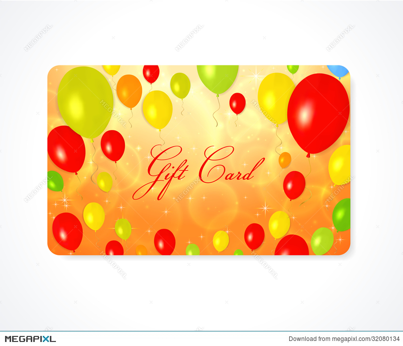 Gift Card / Discount Card / Business Card. Balloon Illustration ...