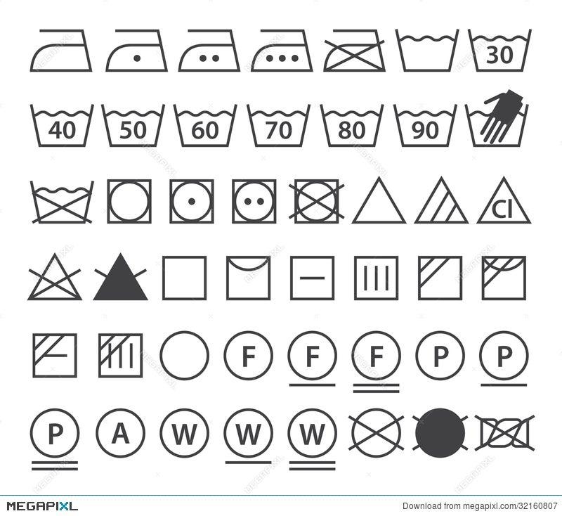 Set Of Washing Symbols Laundry Icons Illustration 32160807 Megapixl