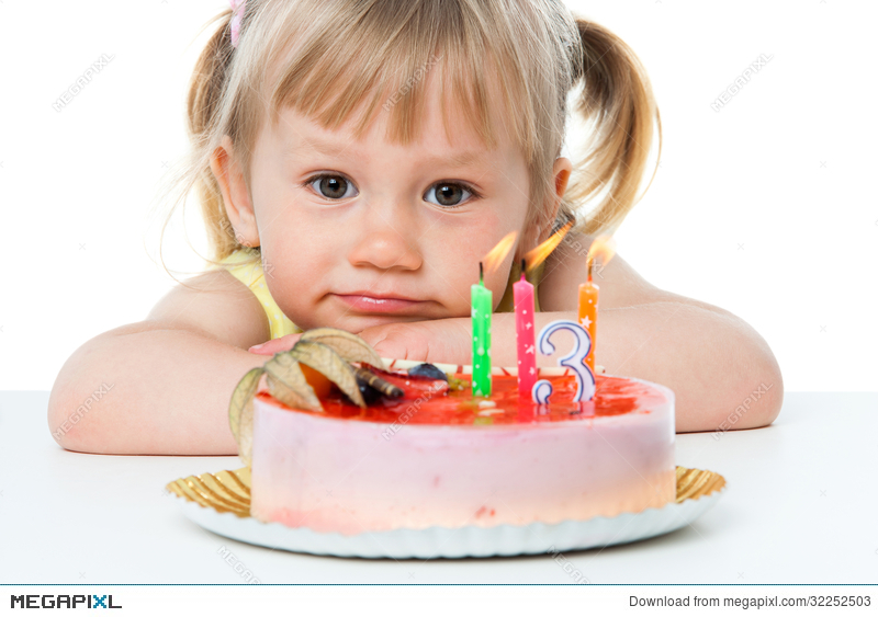 Incredible Cute Girl With Birthday Cake Stock Photo 32252503 Megapixl Funny Birthday Cards Online Overcheapnameinfo