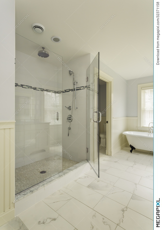 Luxury Master Bathroom With Enclosed Glass Shower Stock ...